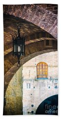 Bath Towel featuring the photograph Medieval Arches With Lamp by Silvia Ganora