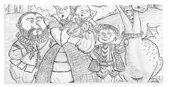 Medieval Family Portrait Ink & Crayon Paper Hand Towel