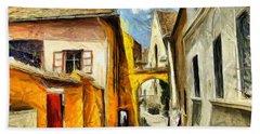 Medieval Street In Sighisoara Transylvania Romania - Painting Hand Towel