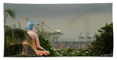 Bath Towel featuring the photograph Meditating Buddha Views Container Seaport Singapore by Imran Ahmed