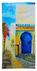 Hand Towel featuring the painting Mediterranean Medina by Ana Maria Edulescu