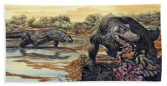 Megalania Giant Monitor Lizard Eating Hand Towel