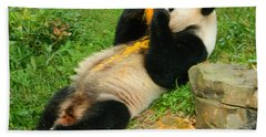 Mei Xiang Chowing On Frozen Treat Bath Towel by Emmy Marie Vickers