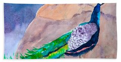 Bath Towel featuring the painting Mellow Peacock by Beverley Harper Tinsley