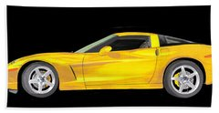 Mellow Yellow Corvette C 6 Bath Towel