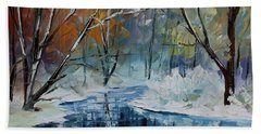 Lost In Winter - Palette Knife Oil Painting On Canvas By Leonid Afremov Hand Towel