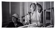 Hand Towel featuring the photograph Men At Work by Wallaroo Images