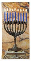 Menorah With Blue Candles Hand Towel