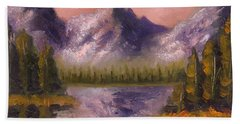 Bath Towel featuring the painting Mental Mountain by Jason Williamson