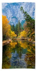 Merced River And Leaning Pine Bath Towel