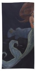 Mermaid And The Blue Fish Hand Towel