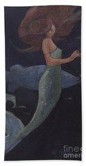 Mermaid And The Blue Fish Bath Towel