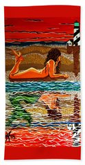 Hand Towel featuring the painting Mermaid Day Dreaming  by Jackie Carpenter