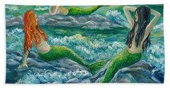 Mermaids On The Rocks Hand Towel by Julie Brugh Riffey