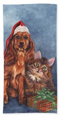 Hand Towel featuring the painting Merry Christmas by Carol Wisniewski