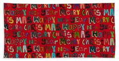 Merry Christmas Happy New Year Red Bath Towel