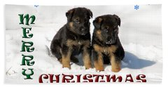 Merry Christmas Puppies Bath Towel
