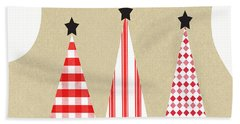 Merry Christmas With Red And White Trees Hand Towel