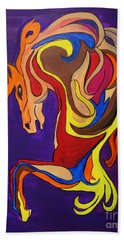 Bath Towel featuring the painting Merry Go Round Carousel Horse by Janice Rae Pariza