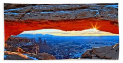 Mesa Arch Sunrise Hand Towel by Adam Jewell
