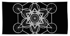 Bath Towel featuring the digital art Metatron Wheel Cube by Derek Gedney