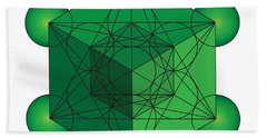 Metatron's Cube In Green Bath Towel