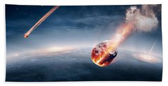 Meteorites On Their Way To Earth Bath Towel