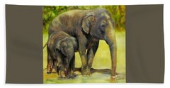 Thirsty, Methai And Baylor, Elephants  Hand Towel