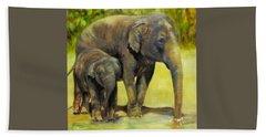 Thirsty, Methai And Baylor, Elephants  Bath Towel