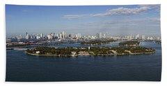 Miami And Star Island Skyline Hand Towel