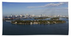 Miami And Star Island Skyline Bath Towel
