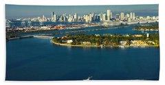 Miami City Biscayne Bay Skyline Bath Towel