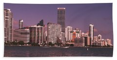 Miami Skyline Abstract IIi Hand Towel by Christiane Schulze Art And Photography