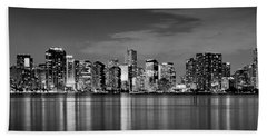 Miami Skyline At Dusk Black And White Bw Panorama Hand Towel
