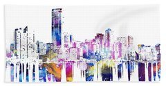Miami Skyline Hand Towel by Doc Braham