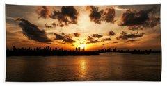 Miami Skyline Sunset Hand Towel