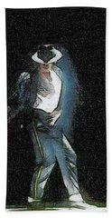 Bath Towel featuring the painting Michael Jackson by Georgi Dimitrov