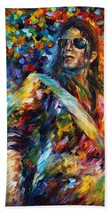 Michael Jackson - Palette Knife Oil Painting On Canvas By Leonid Afremov Hand Towel by Leonid Afremov