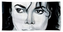 Michael Jackson Portrait Hand Towel by Alban Dizdari
