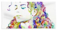 Michael Jackson - Watercolor Portrait.6 Hand Towel by Fabrizio Cassetta