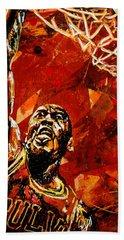 Michael Jordan Hand Towel by Maria Arango