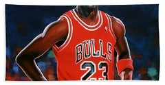Michael Jordan Hand Towel by Paul Meijering