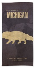 Michigan State Facts Minimalist Movie Poster Art  Hand Towel by Design Turnpike