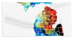 Michigan State Map - Counties By Sharon Cummings Hand Towel