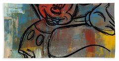 Mickey Mouse Sketchy Hello Bath Towel by Paulette B Wright