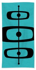 Mid Century Shapes 2 On Turquoise Hand Towel
