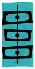 Mid Century Shapes On Turquoise Hand Towel