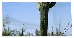 Mid Section View Of Cactus, Saguaro Bath Towel