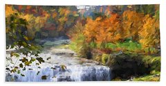 Middle Falls At Letchworth State Park Hand Towel by John Freidenberg