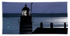 Hand Towel featuring the photograph Midnight Moonlight On West Quoddy Head Lighthouse by Marty Saccone